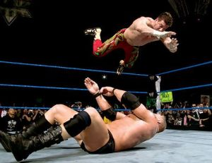 Eddie using his finishing move - the Frog Splash - on Brock Lesnar in 2004. Photo credit: WWE